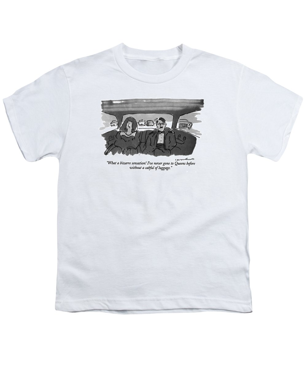 (well-dressed Woman In The Back Of A Taxi Says To Her Husband) Regional Youth T-Shirt featuring the drawing What A Bizarre Sensation! I've Never Gone by Michael Crawford