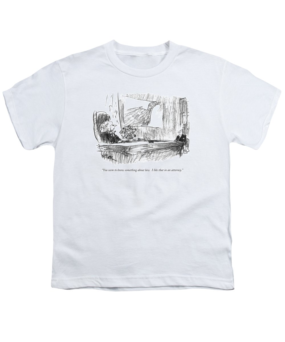 Lawyers Youth T-Shirt featuring the drawing You Seem To Know Something About Law. I Like by Robert Weber