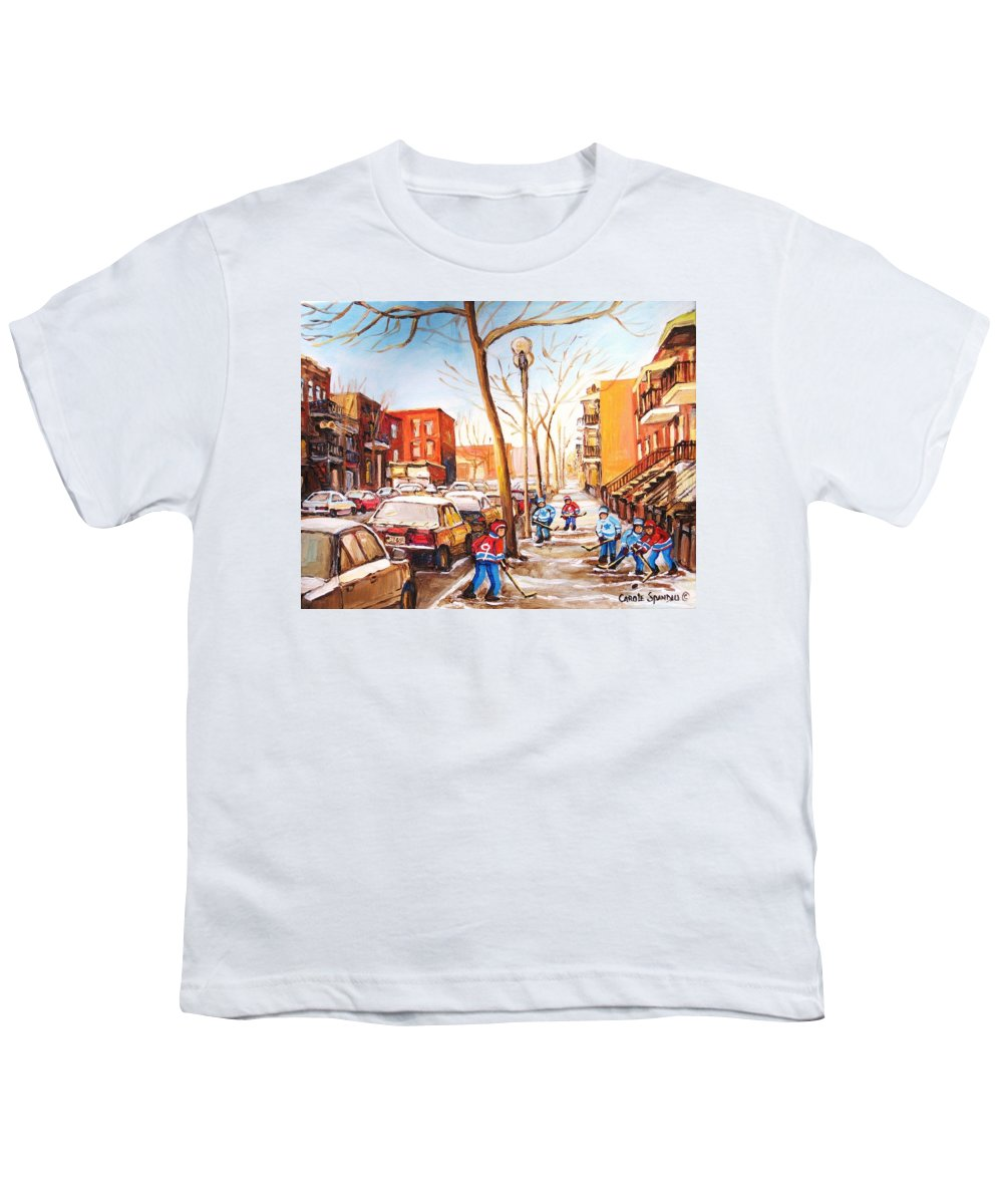 Montreal Street Scene With Boys Playing Hockey Youth T-Shirt featuring the painting Montreal Street With Six Boys Playing Hockey by Carole Spandau