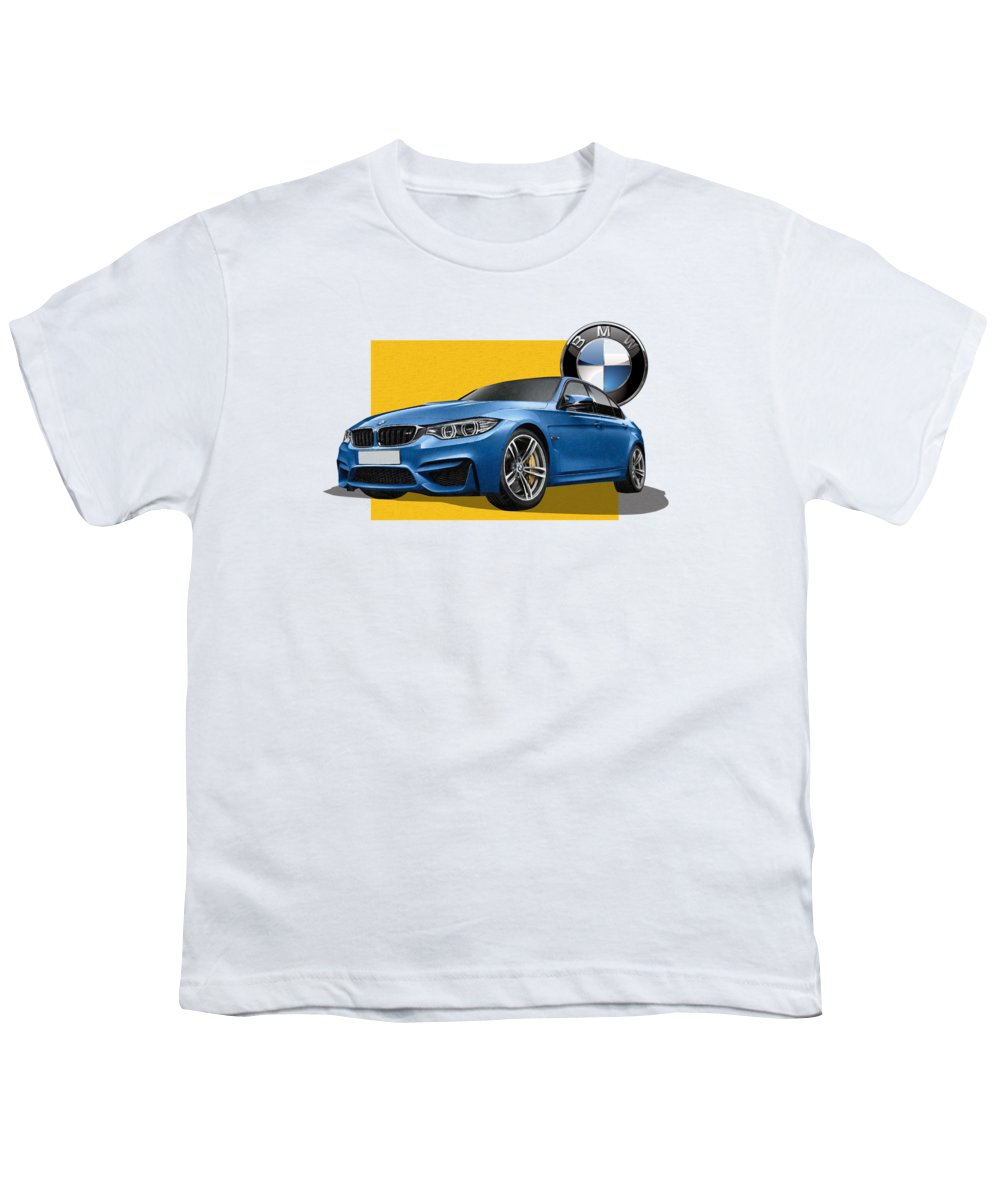 �bmw� Collection By Serge Averbukh Youth T-Shirt featuring the photograph 2016 B M W M 3 Sedan With 3 D Badge by Serge Averbukh