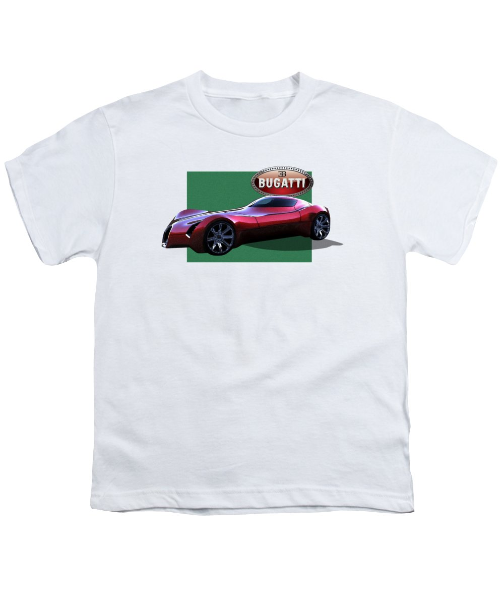 �bugatti� By Serge Averbukh Youth T-Shirt featuring the photograph 2025 Bugatti Aerolithe Concept With 3 D Badge by Serge Averbukh