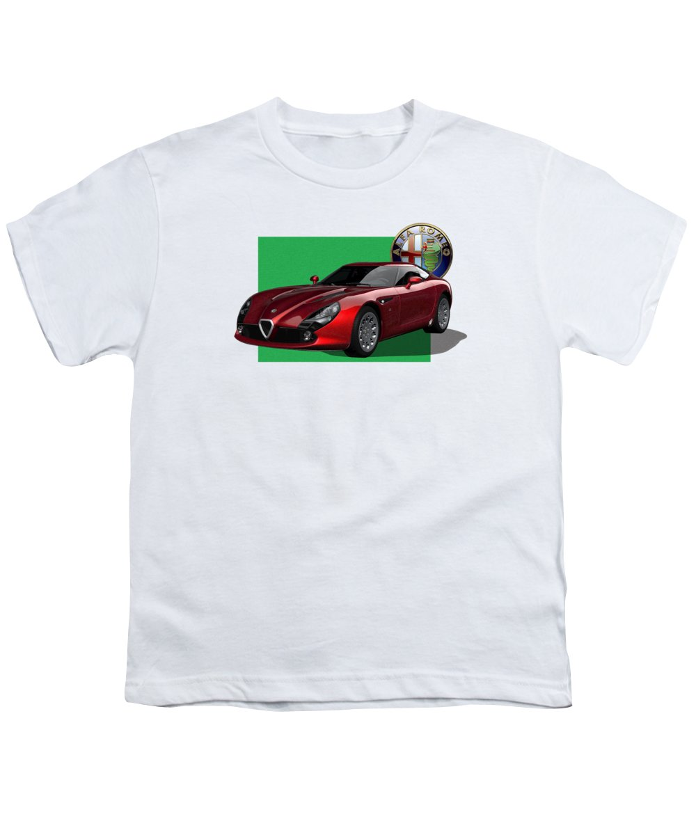 �alfa Romeo� By Serge Averbukh Youth T-Shirt featuring the photograph Alfa Romeo Zagato T Z 3 Stradale With 3 D Badge by Serge Averbukh