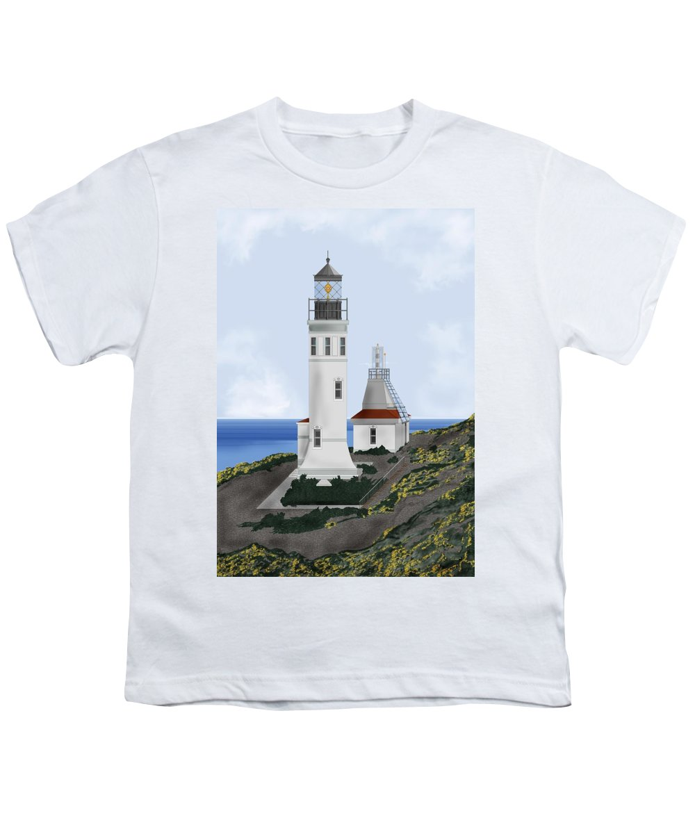 Lighthouse Youth T-Shirt featuring the painting Anacapa Lighthouse California by Anne Norskog
