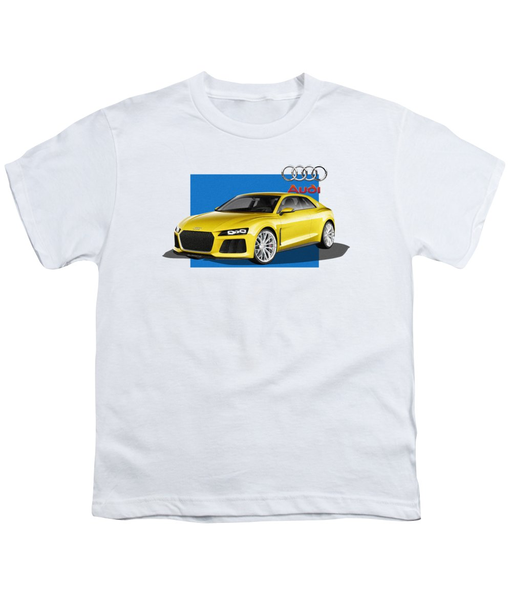�audi� Collection By Serge Averbukh Youth T-Shirt featuring the photograph Audi Sport Quattro Concept With 3 D Badge by Serge Averbukh