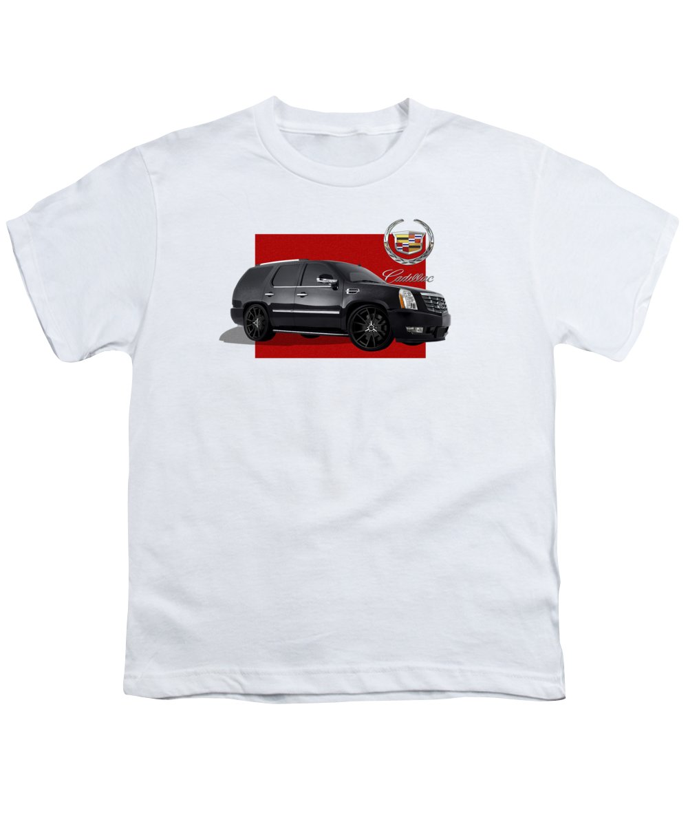 �cadillac� By Serge Averbukh Youth T-Shirt featuring the photograph Cadillac Escalade With 3 D Badge by Serge Averbukh