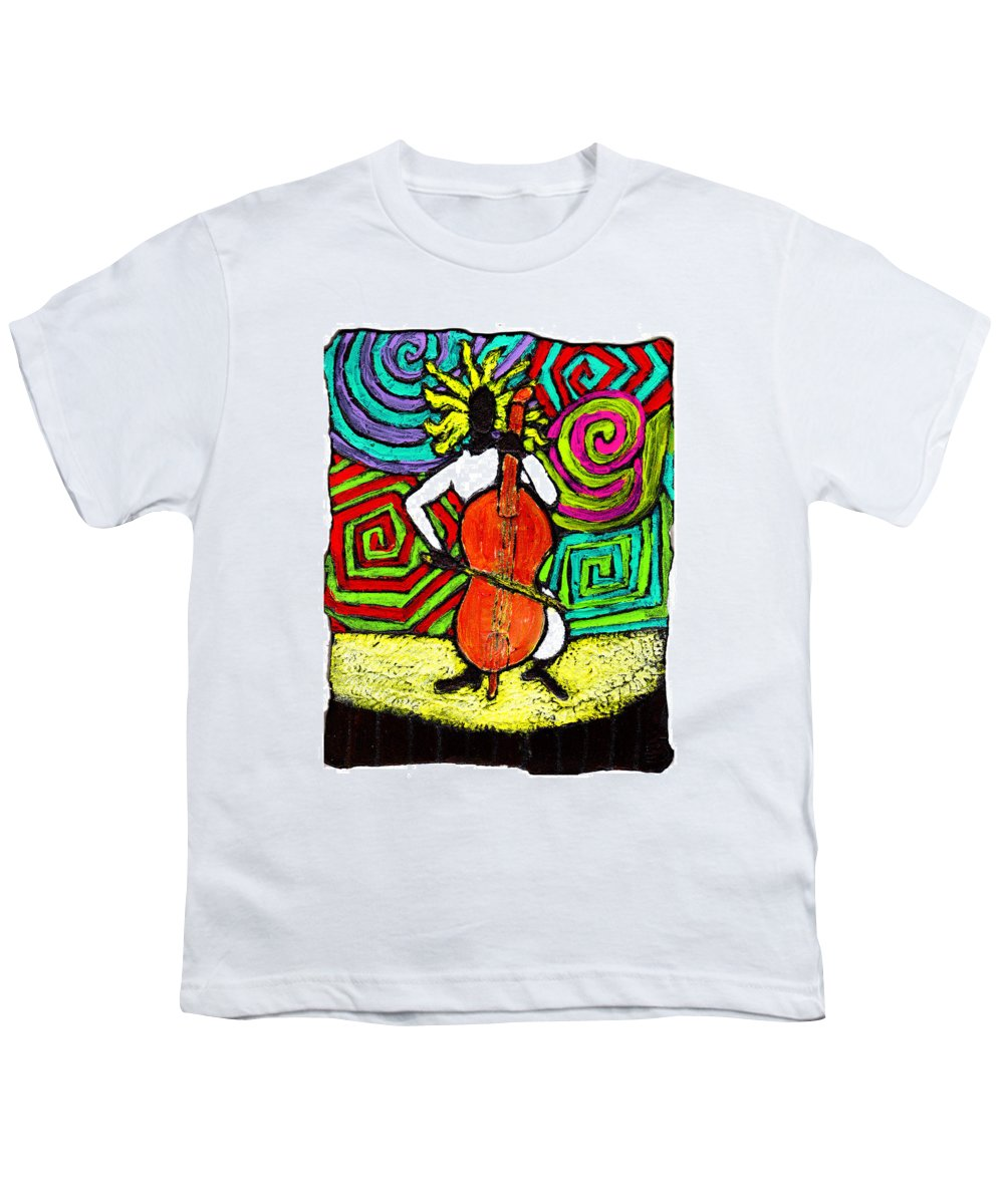 Music Youth T-Shirt featuring the painting Cello Soloist by Wayne Potrafka