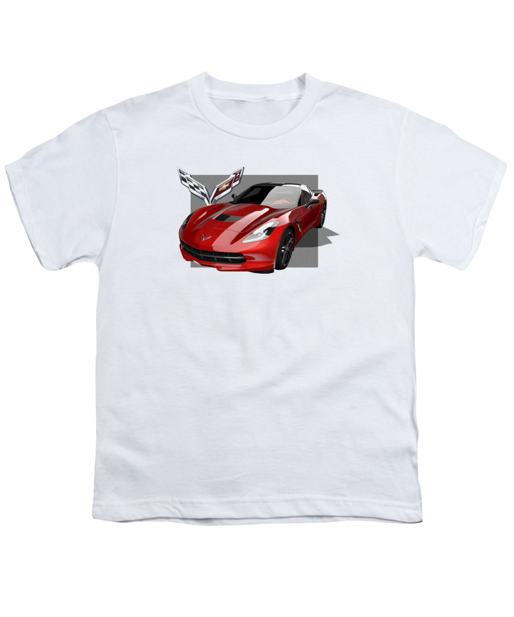 �chevrolet Corvette� By Serge Averbukh Youth T-Shirt featuring the photograph Chevrolet Corvette C 7 Stingray With 3 D Badge by Serge Averbukh