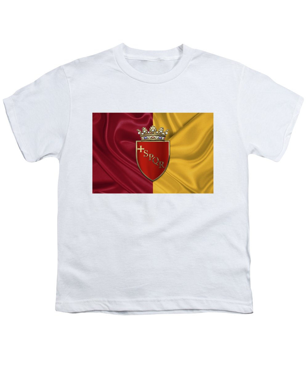 Rome Has The Status Of A Global City. Monuments And Museums Such As The Vatican Museums And The Colosseum Are Among The World's Most Visited Tourist Destinations With Both Locations Receiving Millions Of Tourists A Year. Rome Hosted The 1960 Summer Olympics And Is The Seat Of United Nations' Food And Agriculture Organization (fao). Youth T-Shirt featuring the photograph Coat Of Arms Of Rome Over Flag Of Rome by Serge Averbukh