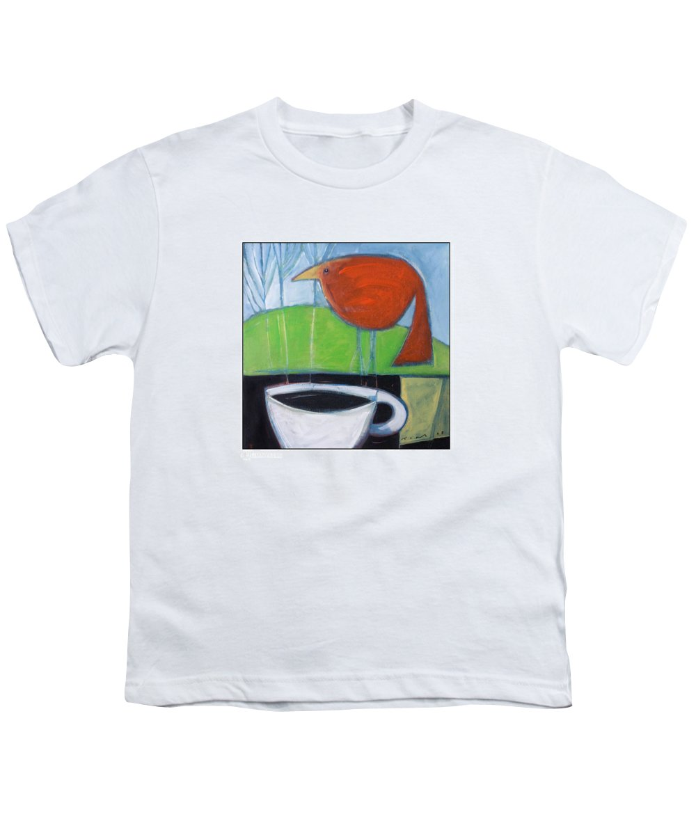 Bird Youth T-Shirt featuring the painting Coffee With Red Bird by Tim Nyberg