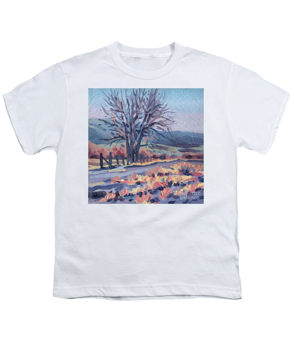 Road Youth T-Shirt featuring the painting Country Road by Donald Maier