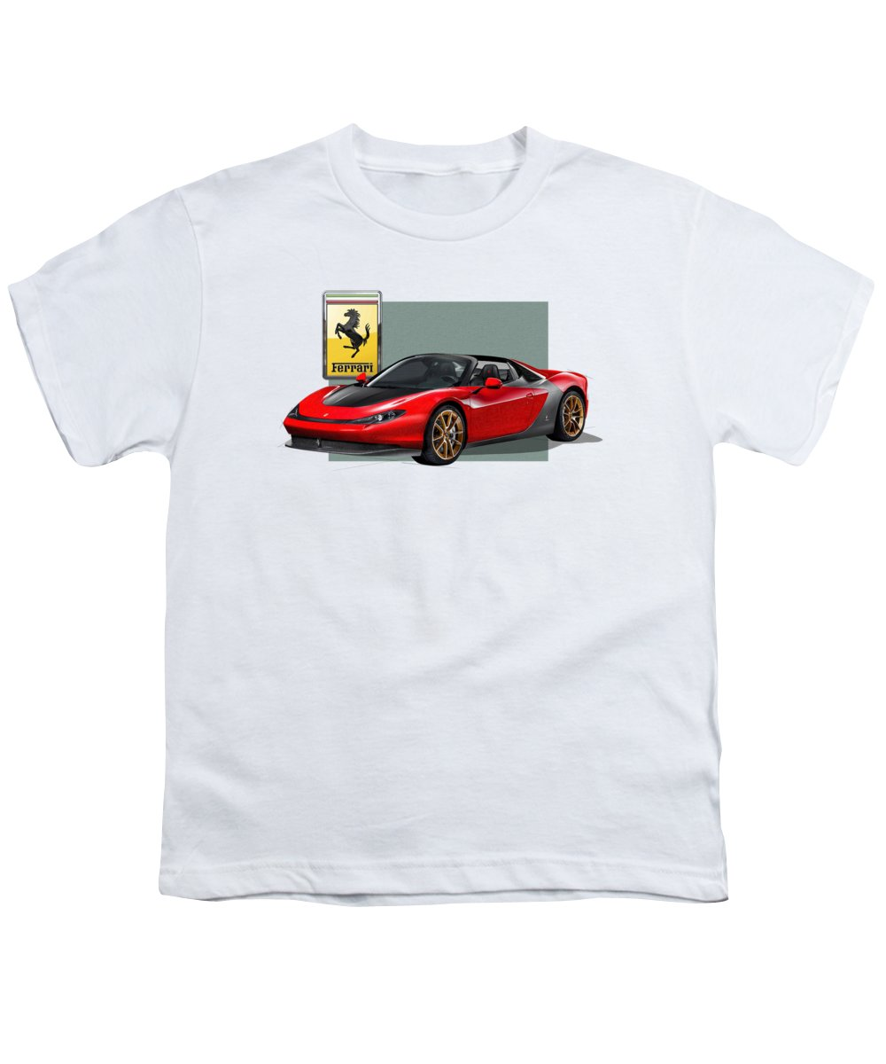�ferrari� Collection By Serge Averbukh Youth T-Shirt featuring the photograph Ferrari Sergio With 3d Badge by Serge Averbukh