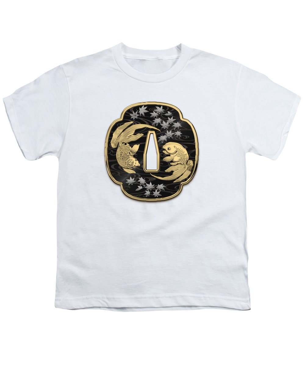 'treasures Of Japan' Collection By Serge Averbukh Youth T-Shirt featuring the photograph Japanese Katana Tsuba - Twin Gold Fish On Black Steel Over White Leather by Serge Averbukh