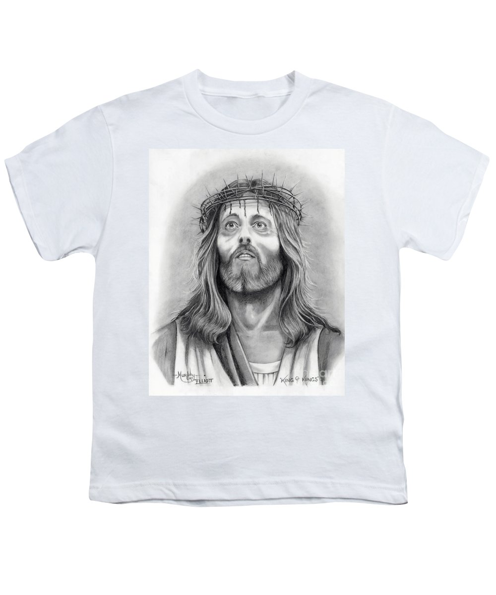 Jesus Christ Youth T-Shirt featuring the drawing King Of Kings by Murphy Elliott