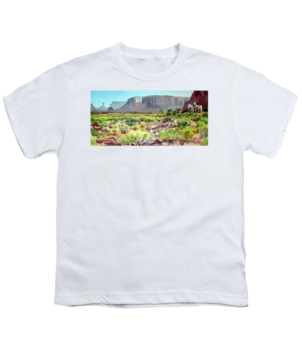 Navajo Youth T-Shirt featuring the painting Lone Rider by Donald Maier