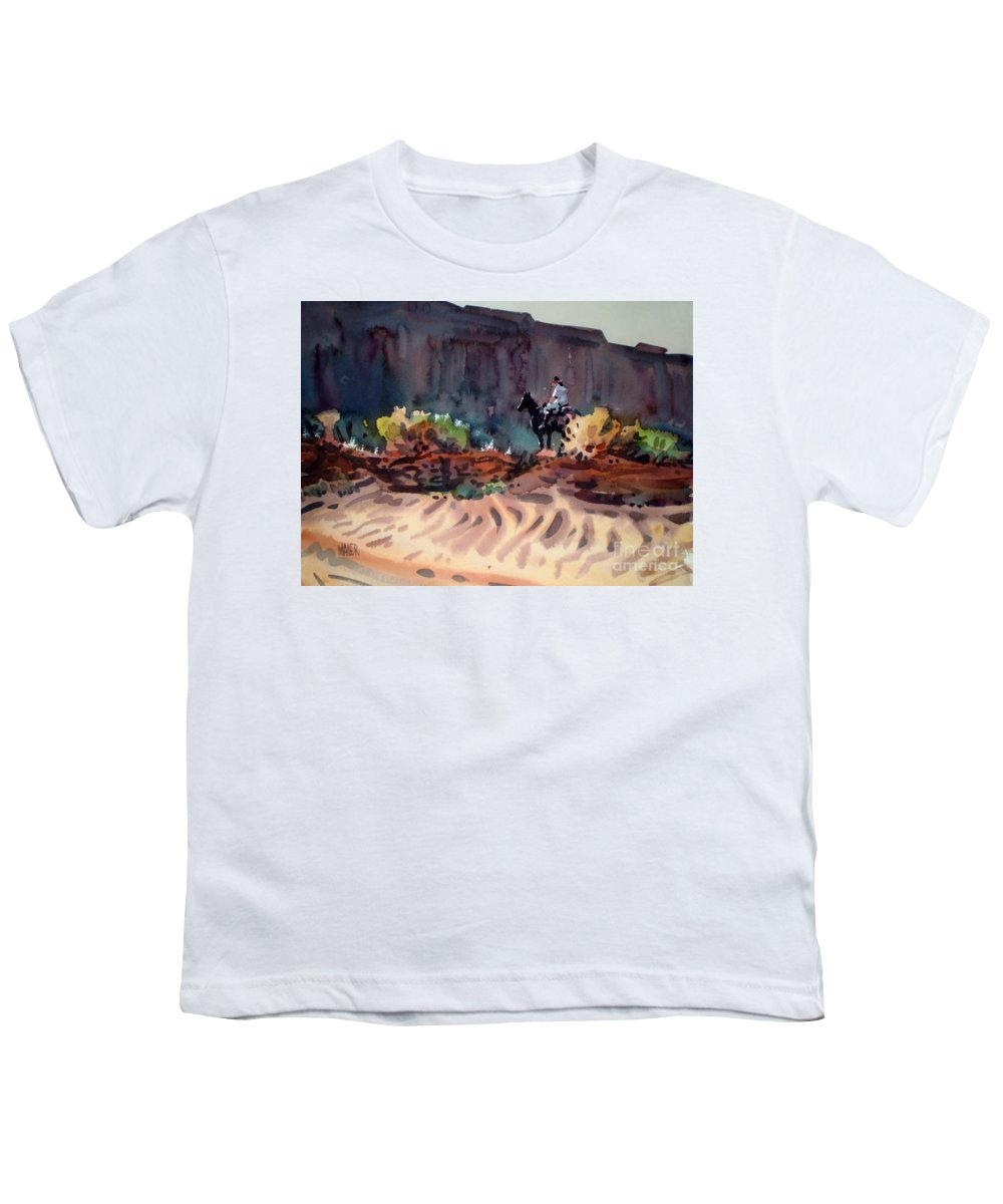 Equestrian Youth T-Shirt featuring the painting Navajo Rider by Donald Maier