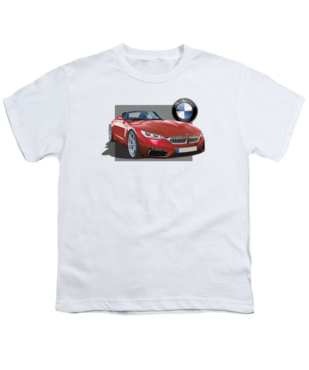 �bmw� Collection By Serge Averbukh Youth T-Shirt featuring the photograph Red 2018 B M W Z 5 With 3 D Badge by Serge Averbukh