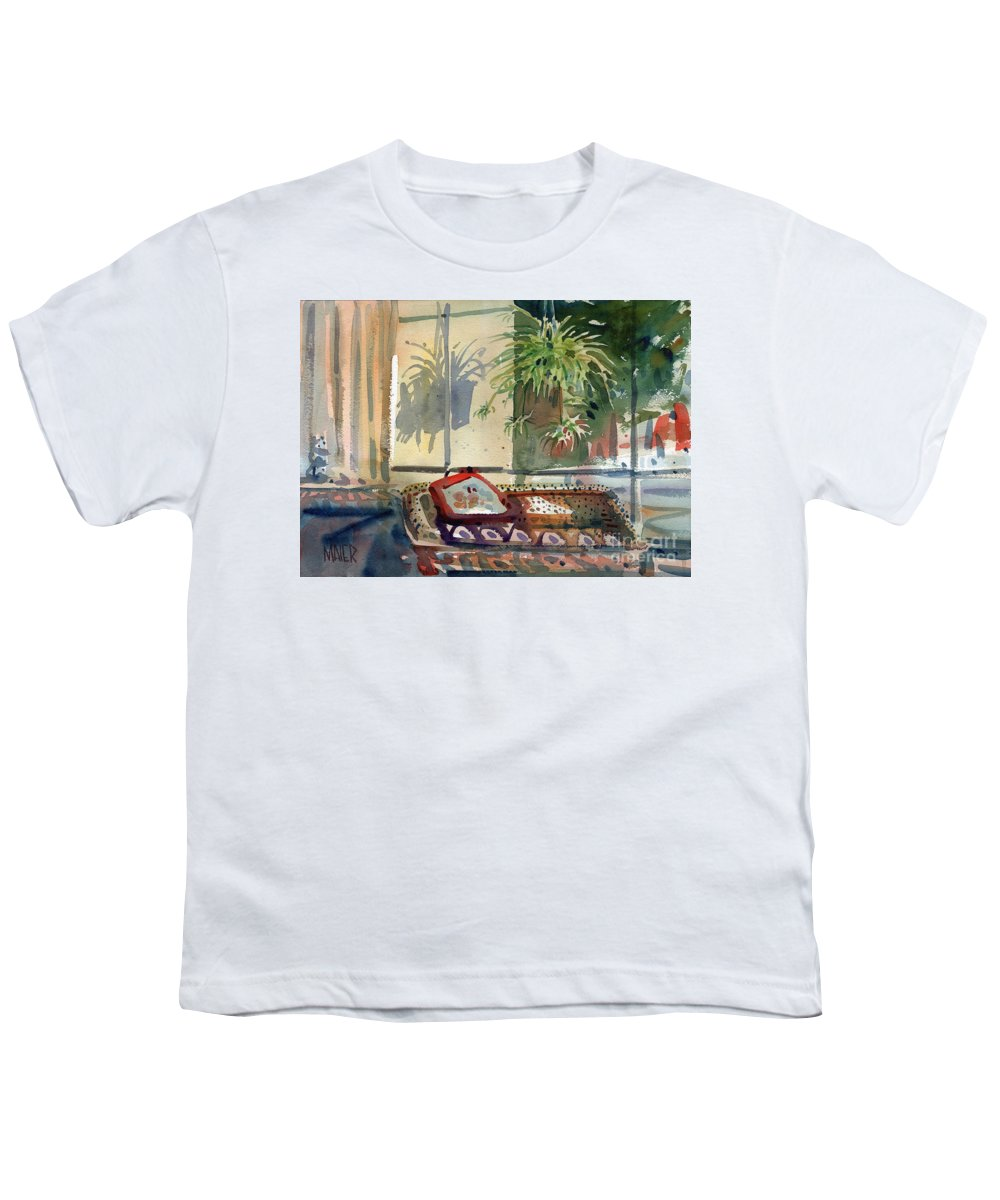 Spider Plant Youth T-Shirt featuring the painting Spider Plant In The Window by Donald Maier