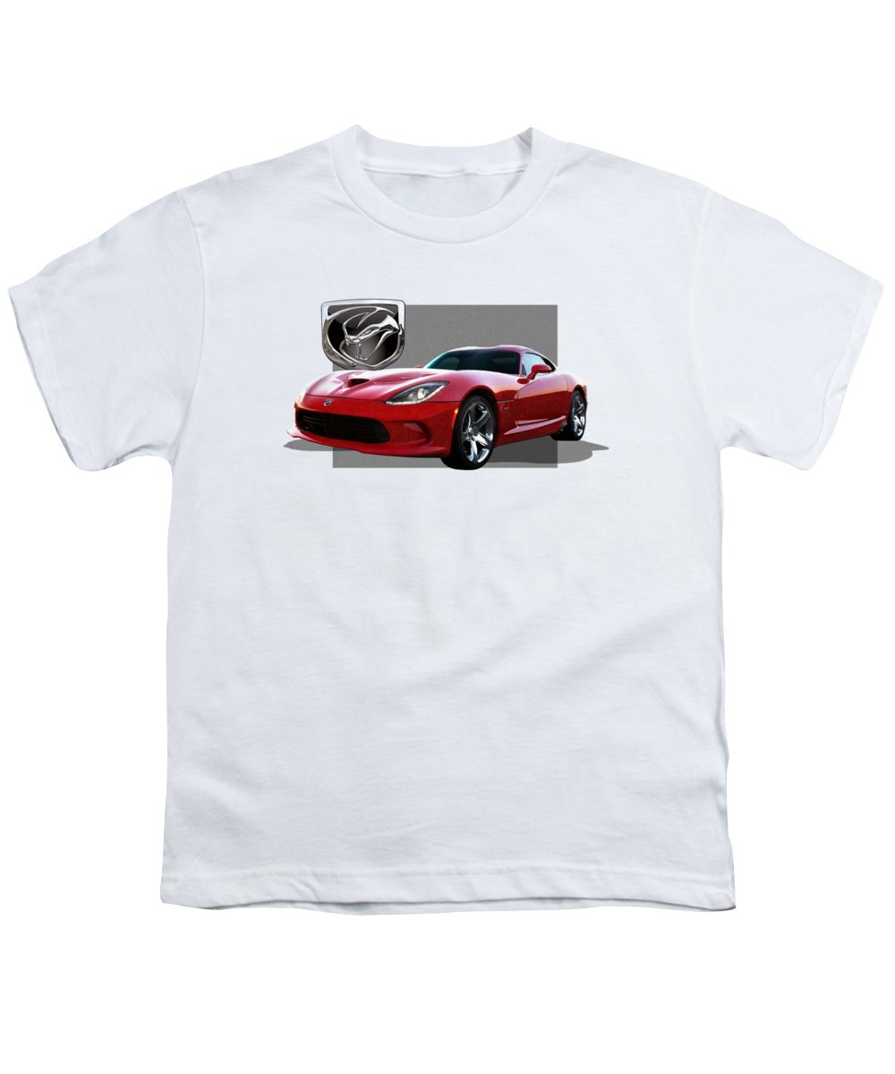 'dodge Viper' By Serge Averbukh Youth T-Shirt featuring the photograph S R T Viper With 3 D Badge by Serge Averbukh