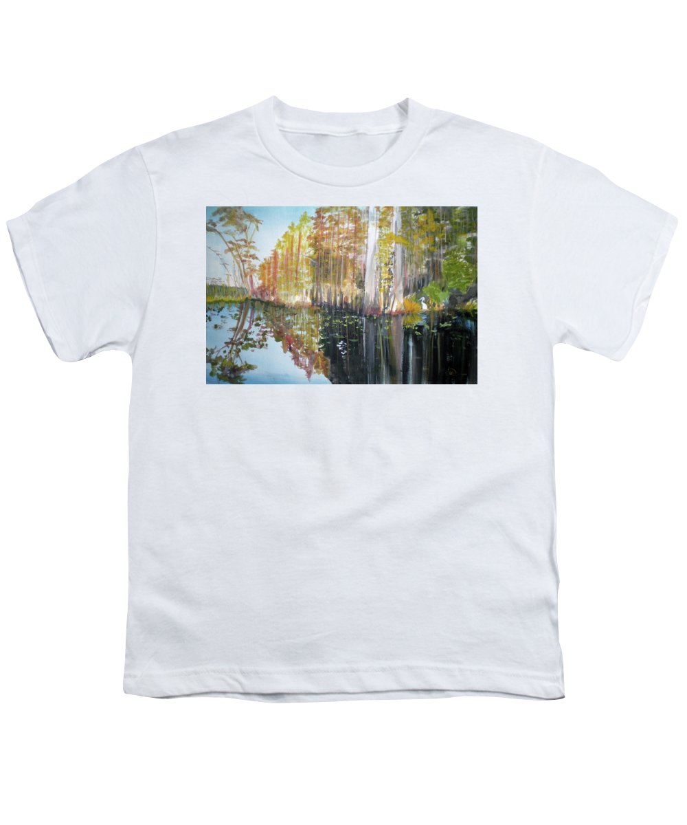 Landscape Of A South Florida Swamp At Dusk Feels Very Wild Youth T-Shirt featuring the painting Swamp Reflection by Hal Newhouser