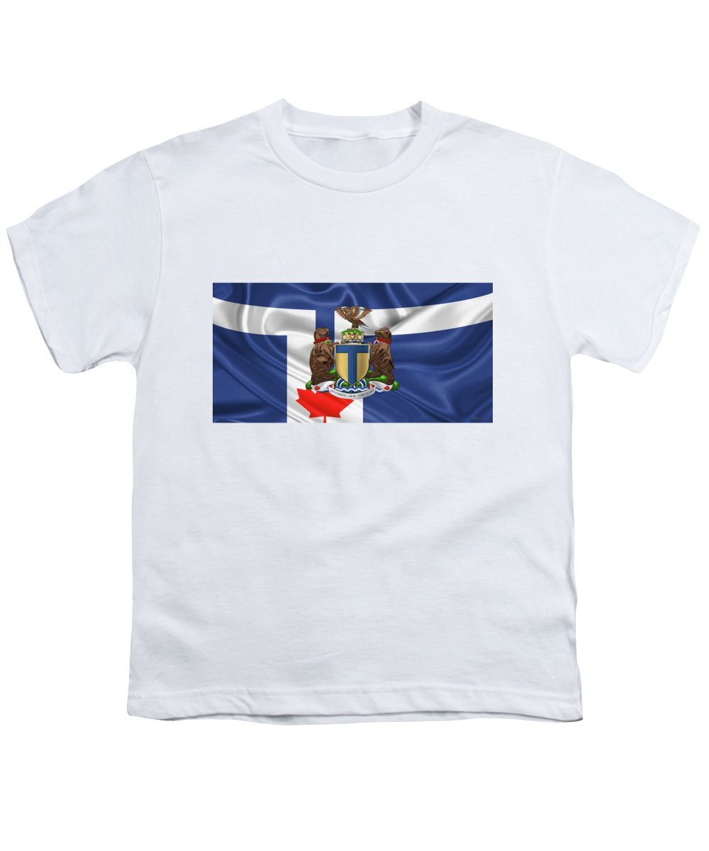 'cities Of The World' Collection By Serge Averbukh Youth T-Shirt featuring the photograph Toronto - Coat Of Arms Over City Of Toronto Flag by Serge Averbukh