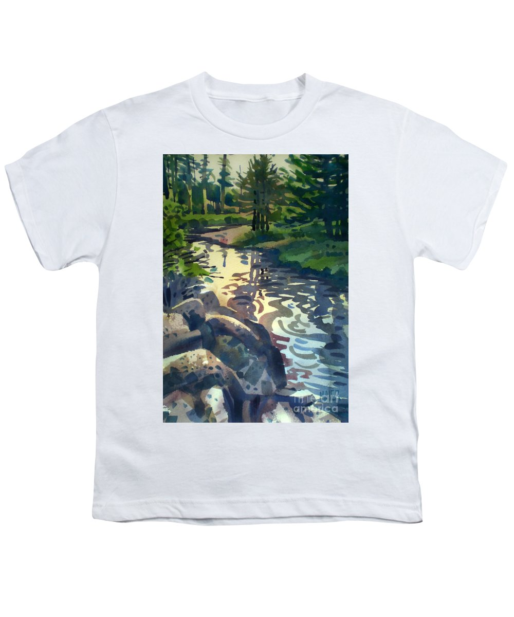 Stream Youth T-Shirt featuring the painting Up With The Fishes by Donald Maier