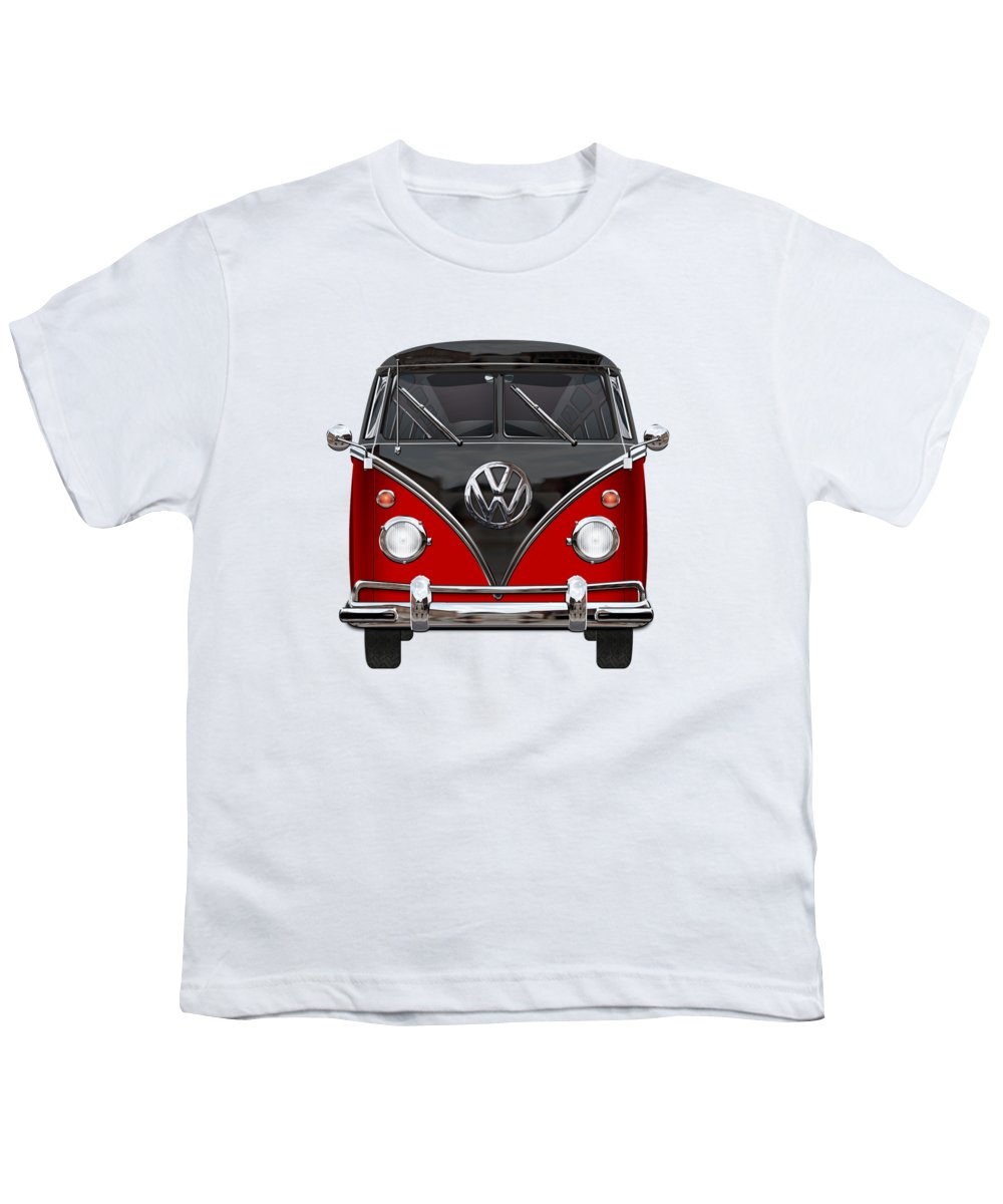 'volkswagen Type 2' Collection By Serge Averbukh Youth T-Shirt featuring the photograph Volkswagen Type 2 - Red And Black Volkswagen T 1 Samba Bus On White by Serge Averbukh