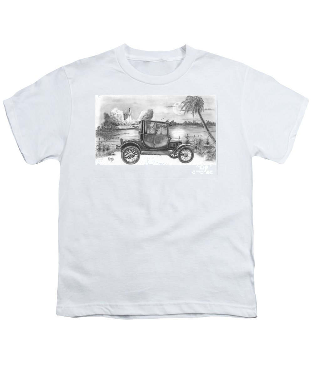 Pencil Youth T-Shirt featuring the drawing Yesterday And Today by Murphy Elliott