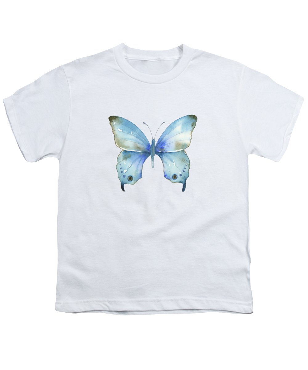 Blue And Brown Butterfly Youth T-Shirt featuring the painting #109 Blue Diana Butterfly by Amy Kirkpatrick
