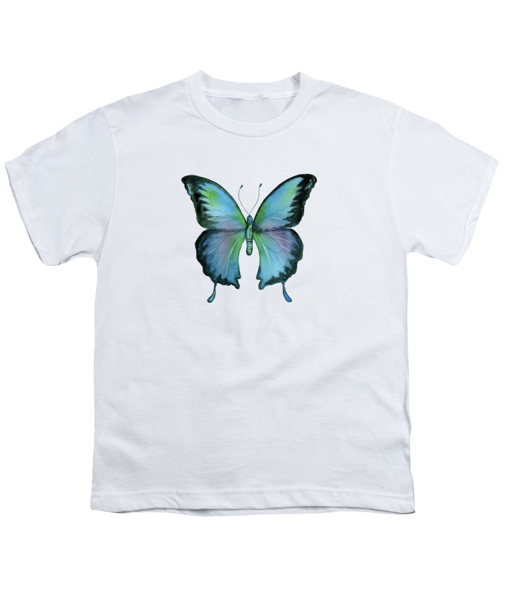 Blue Youth T-Shirt featuring the painting 12 Blue Emperor Butterfly by Amy Kirkpatrick