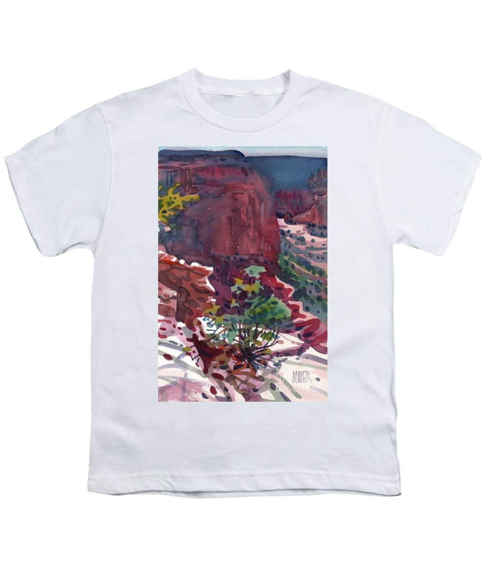 Canyon De Chelly Youth T-Shirt featuring the painting Canyon View by Donald Maier