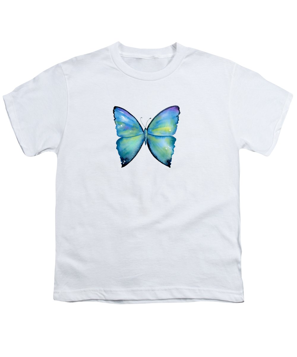 Morpho Aega Butterfly Youth T-Shirt featuring the painting 2 Morpho Aega Butterfly by Amy Kirkpatrick