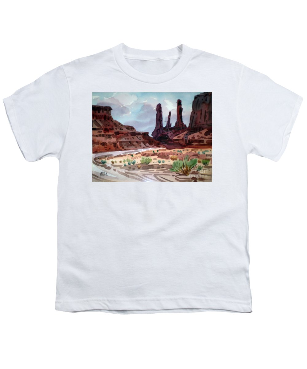 Monument Valley Youth T-Shirt featuring the painting Three Sisters by Donald Maier