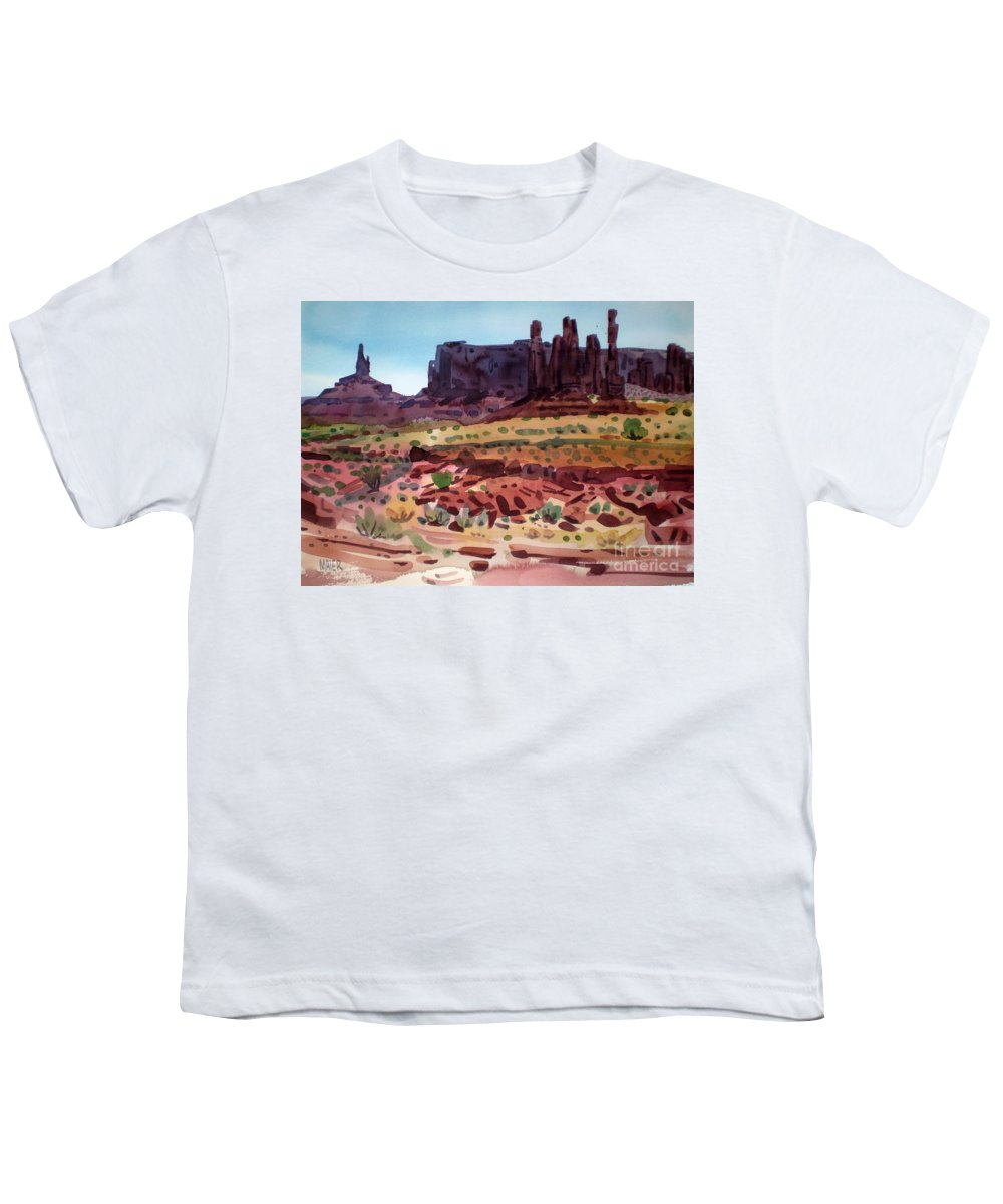 Monument Valley Youth T-Shirt featuring the painting Totem Poles by Donald Maier