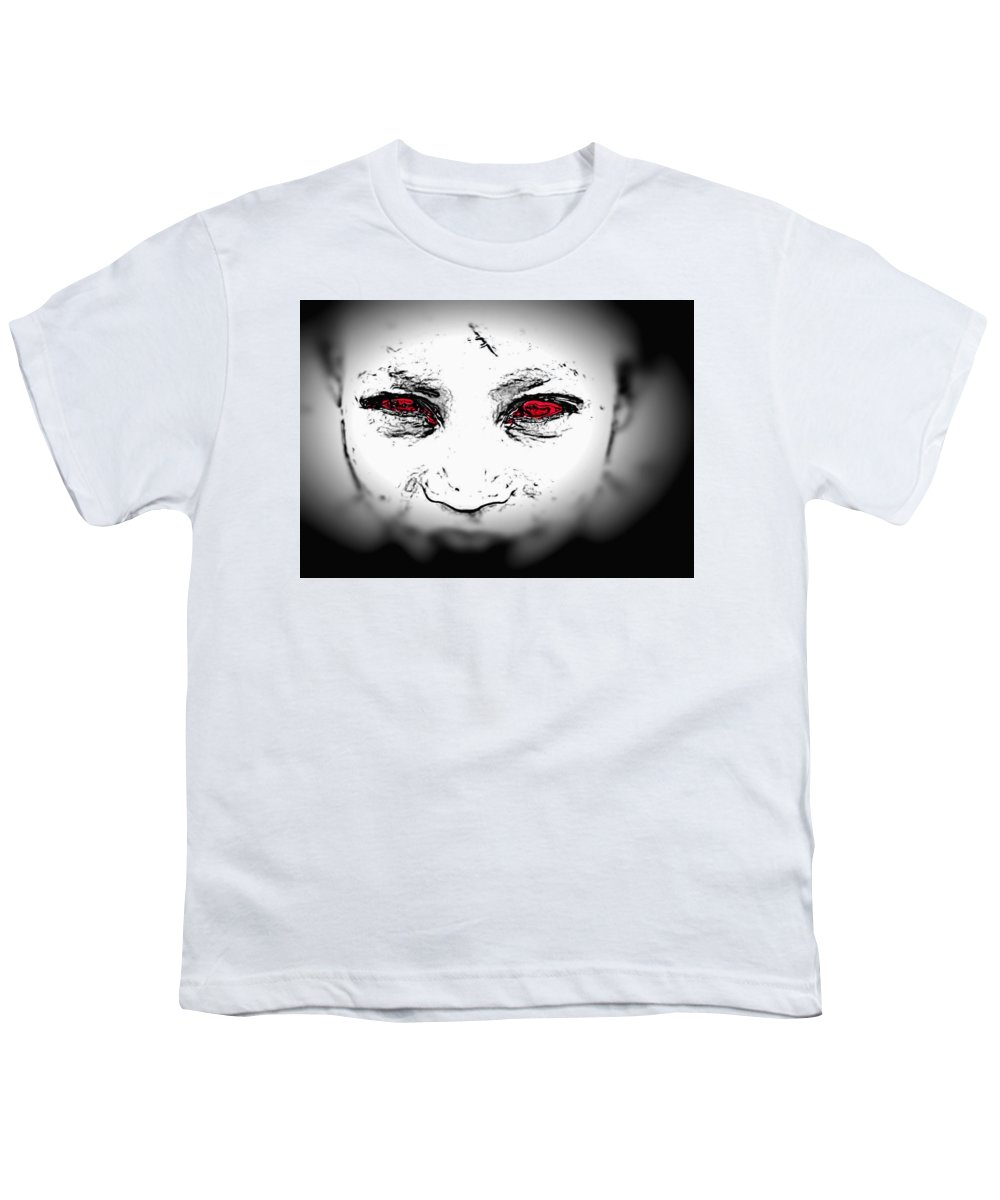 Eyes Face Looks Black And White Red Youth T-Shirt featuring the digital art Untitled by Veronica Jackson