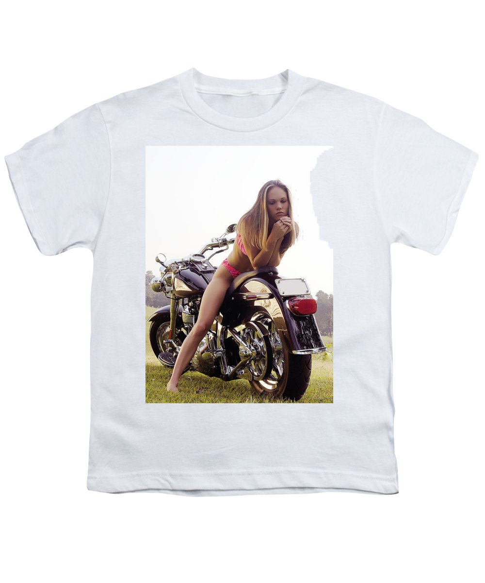 Youth T-Shirt featuring the photograph Bikes And Babes by Clayton Bruster