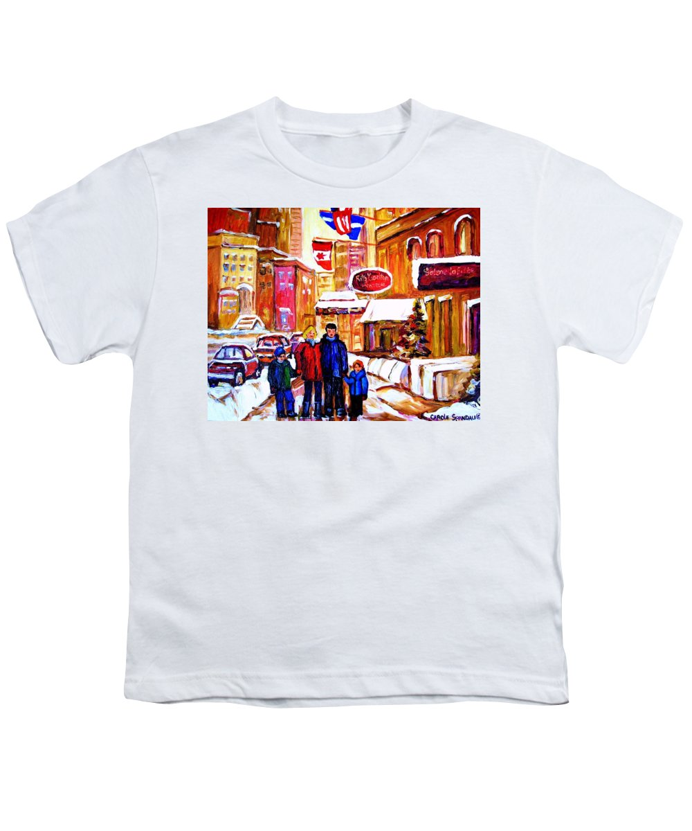 Montreal Youth T-Shirt featuring the painting Montreal Street In Winter by Carole Spandau