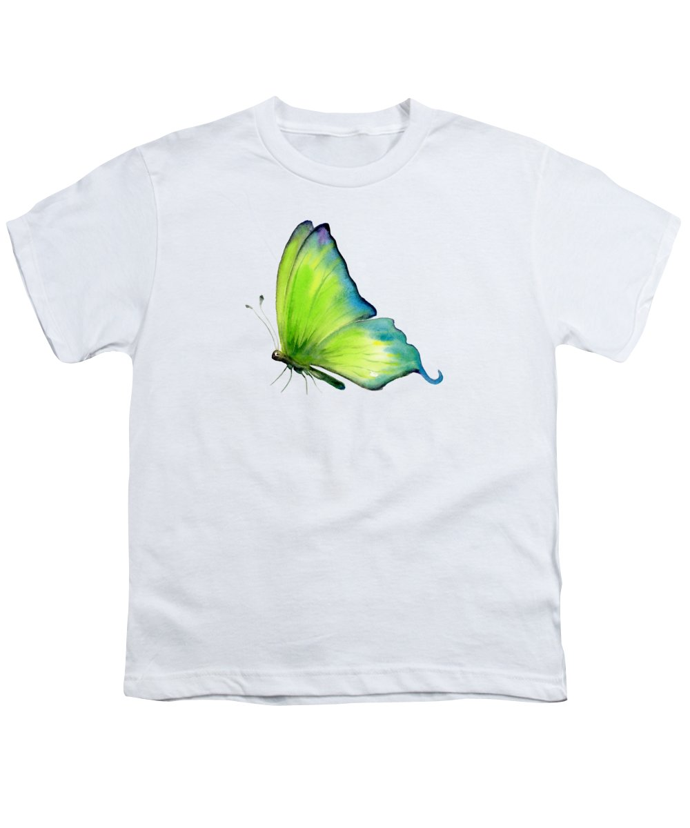 Skip Youth T-Shirt featuring the painting 4 Skip Green Butterfly by Amy Kirkpatrick