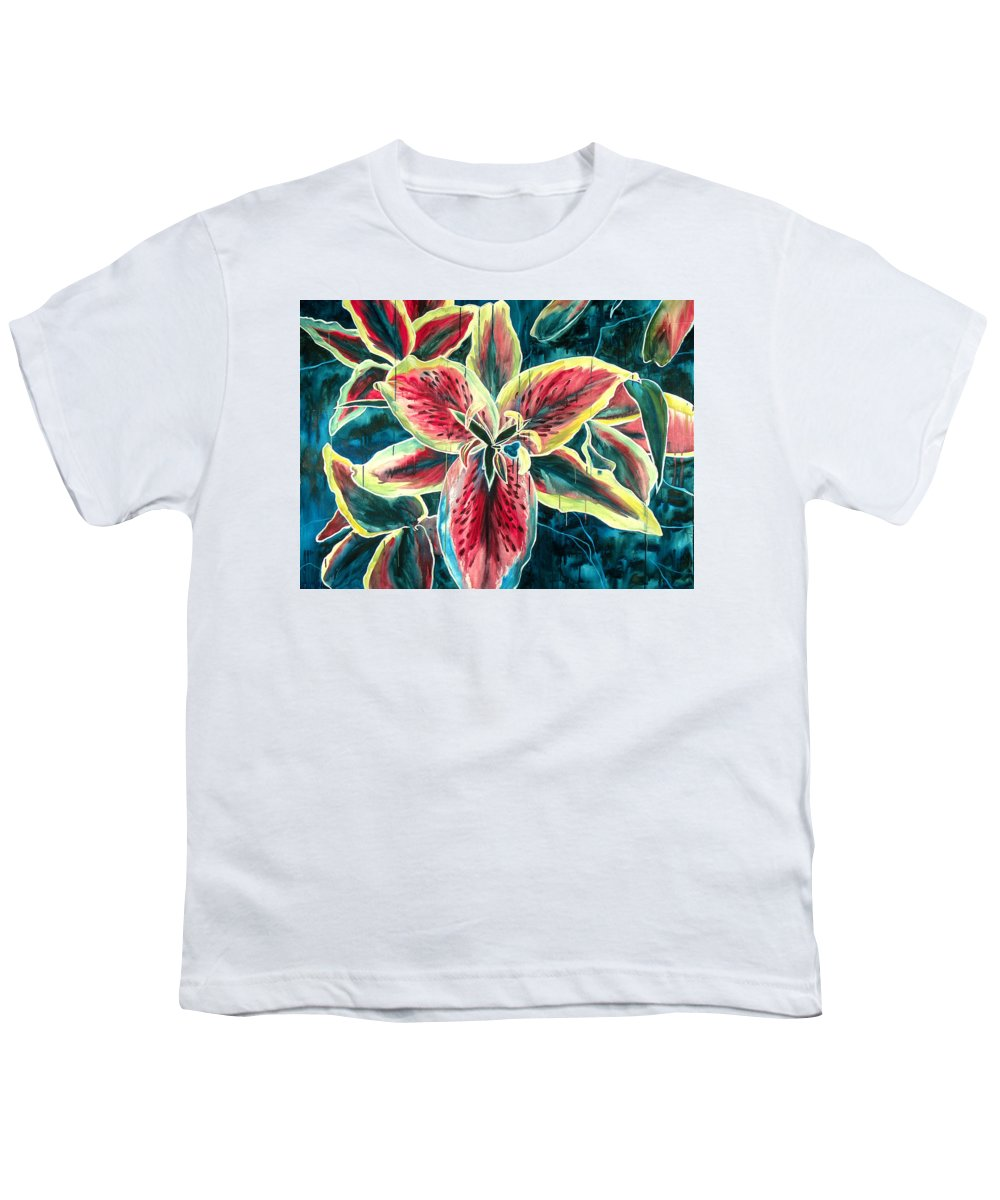 Floral Painting Youth T-Shirt featuring the painting A New Day by Jennifer McDuffie