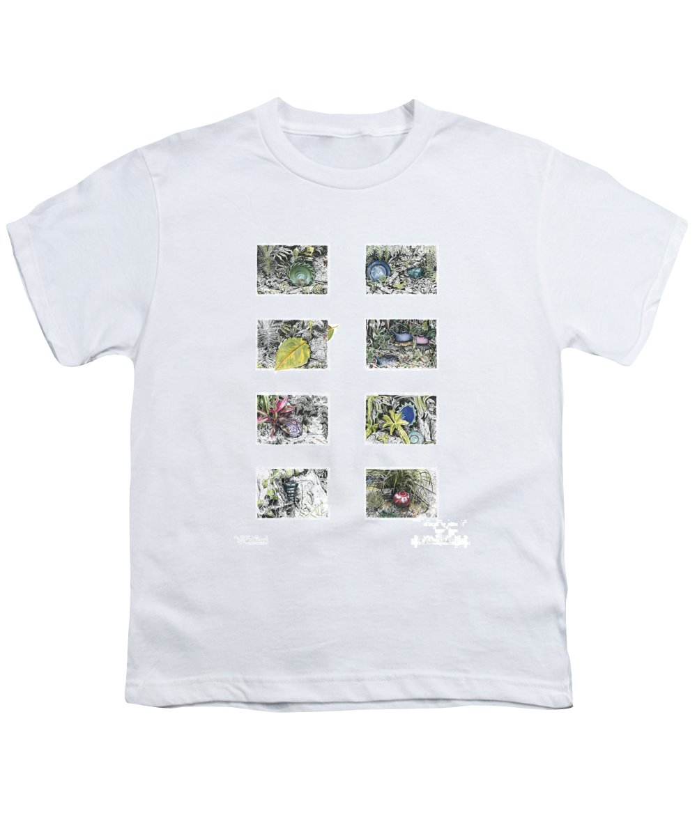 Tropical Youth T-Shirt featuring the drawing A Potters Garden by Kerryn Madsen-Pietsch