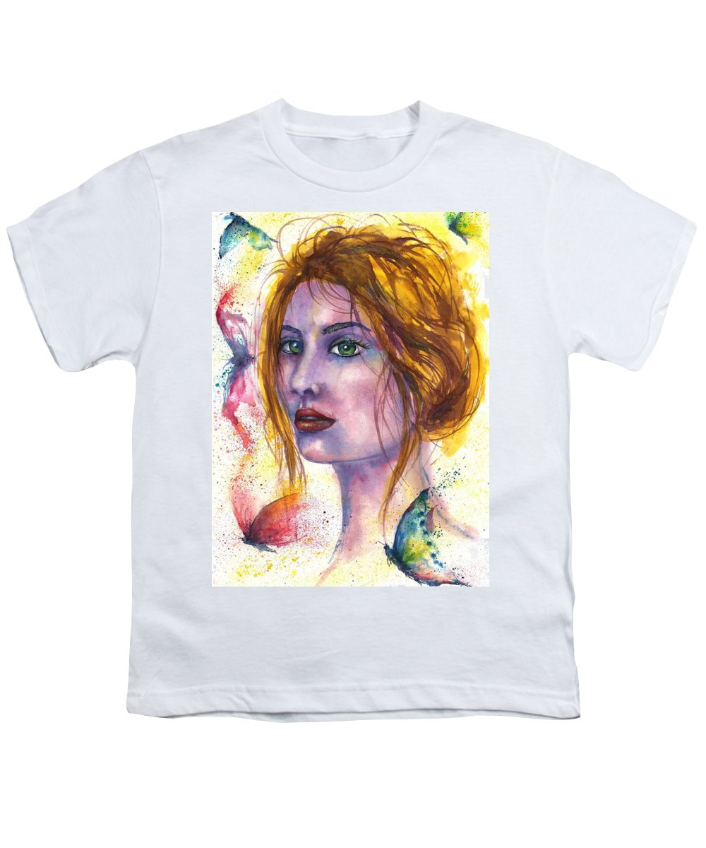 Women Face Youth T-Shirt featuring the painting Abstract women face by Natalja Picugina