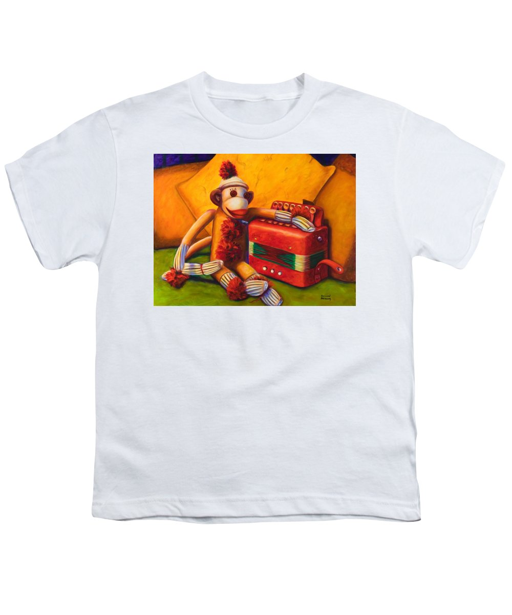 Children Youth T-Shirt featuring the painting Accordion by Shannon Grissom
