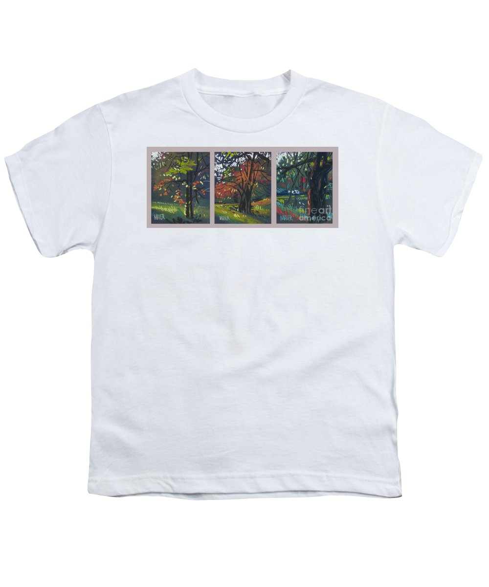 Autumn Foliage Youth T-Shirt featuring the painting Across The Creek Triplet by Donald Maier