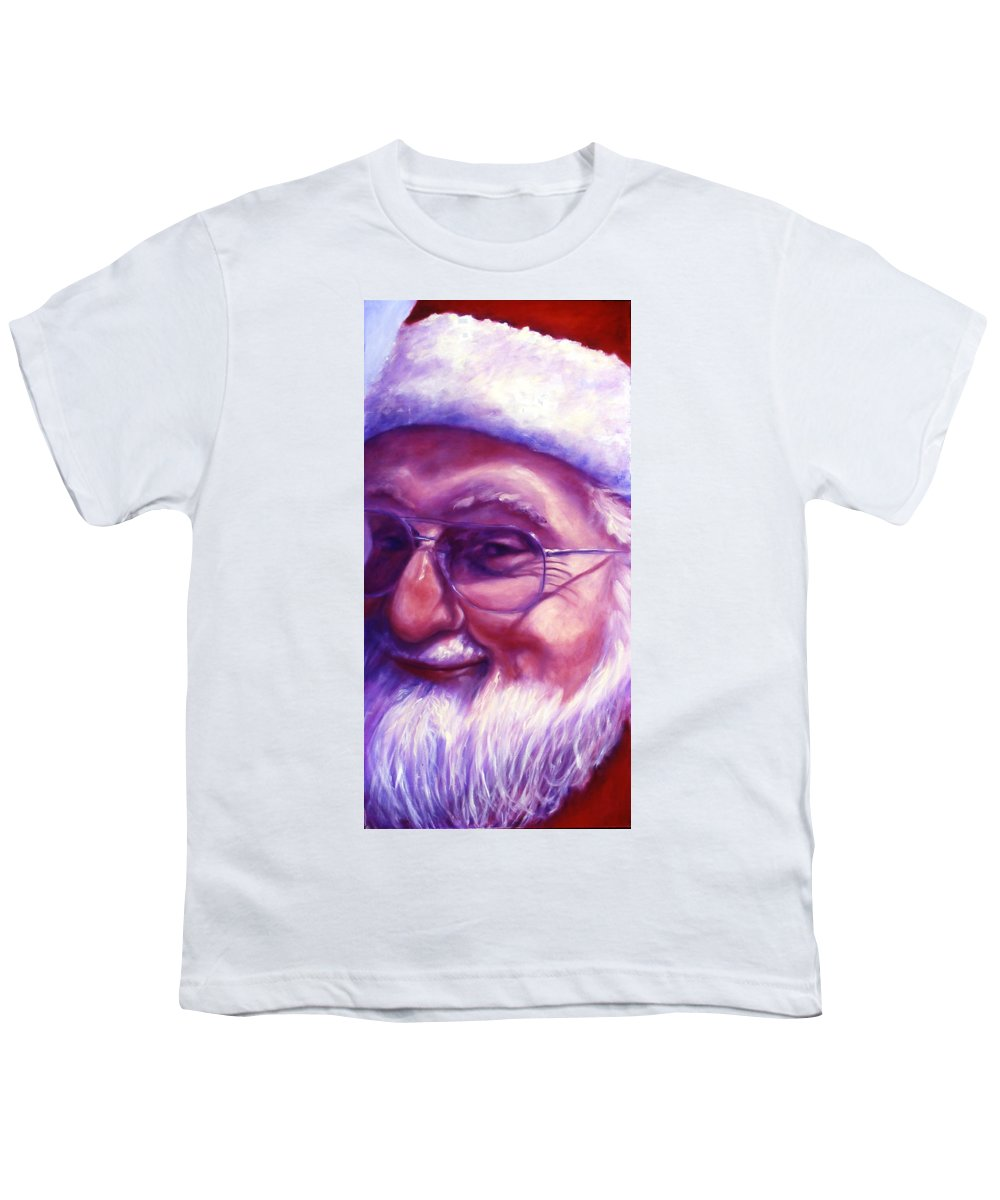 Portrait Youth T-Shirt featuring the painting Are You Sure You Have Been Nice by Shannon Grissom