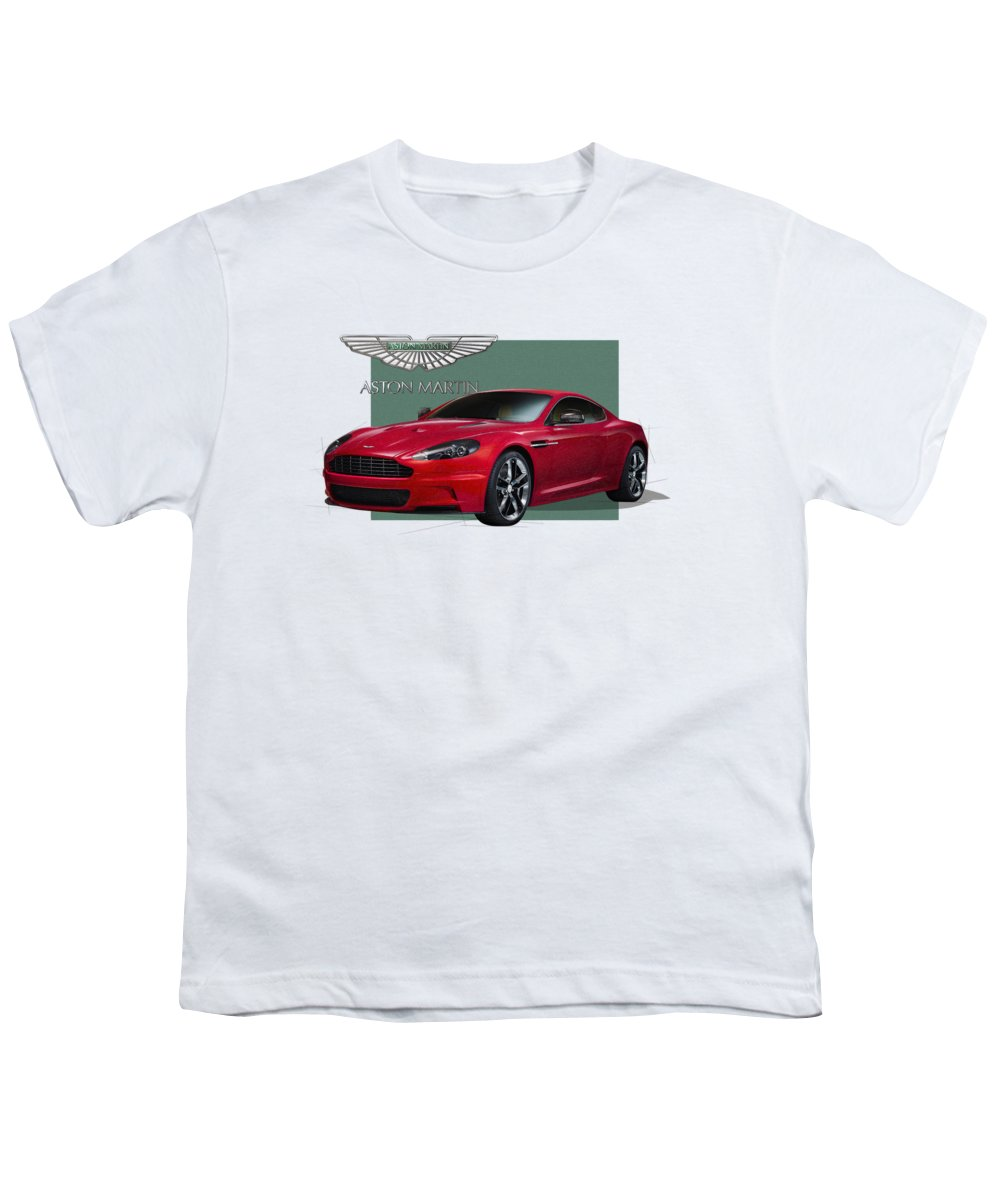 �aston Martin� By Serge Averbukh Youth T-Shirt featuring the photograph Aston Martin D B S V 12 With 3 D Badge by Serge Averbukh
