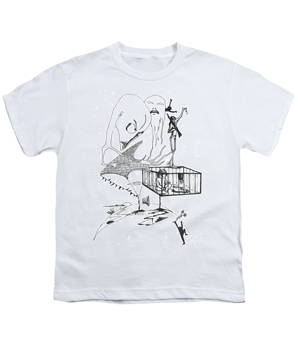 Drawing Pen Automatism Youth T-Shirt featuring the drawing Automatism by Veronica Jackson