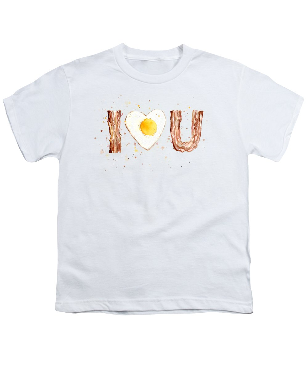 Bacon Youth T-Shirt featuring the painting Bacon And Egg Love by Olga Shvartsur
