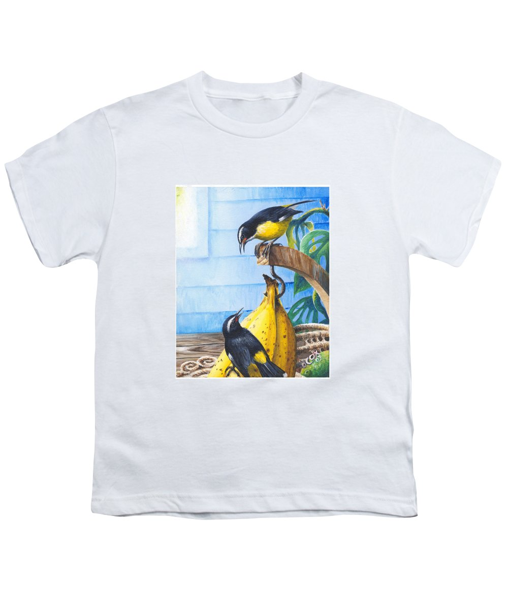 Chris Cox Youth T-Shirt featuring the painting Bananaquits And Bananas by Christopher Cox