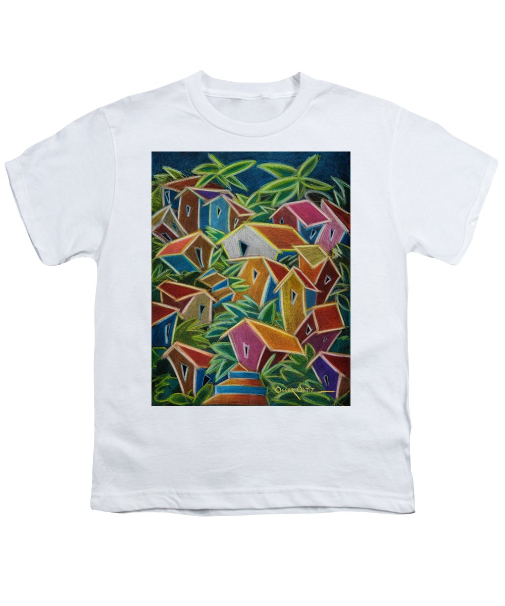 Landscape Youth T-Shirt featuring the painting Barrio Lindo by Oscar Ortiz