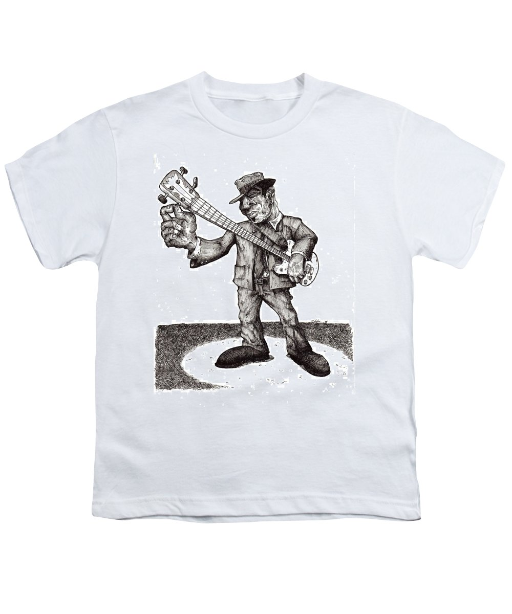 Blues Youth T-Shirt featuring the drawing Bass by Tobey Anderson