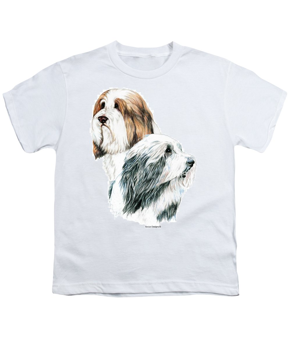 Bearded Collies Youth T-Shirt featuring the drawing Bearded Collies by Kathleen Sepulveda